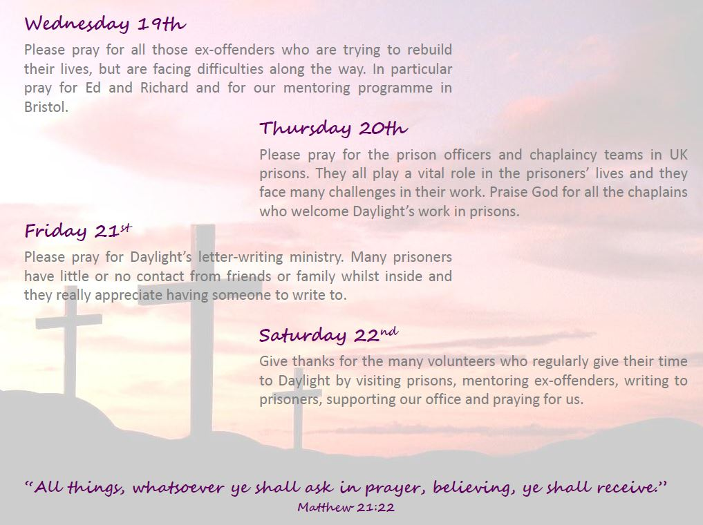 Prisons Week Prayer Diary | Daylight